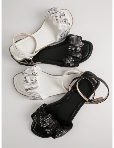 1 Pair Rhinestone Faux Leather Ruched Buckled Sandals