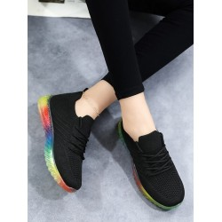 Knit Panel Lace Up Front Running Shoes