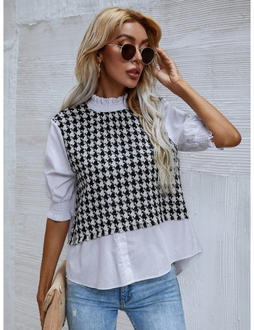 Contrast Panel Houndstooth Stand Collar Blouse