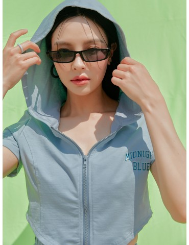 Letter Graphic Crop Hooded Jacket Without Skirt